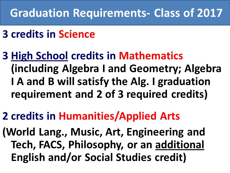 Graduation Requirements- Class of 2017 3 credits in Science 3 High School credits in Mathematics (including Algebra I and Geometry; Algebra I A and B
