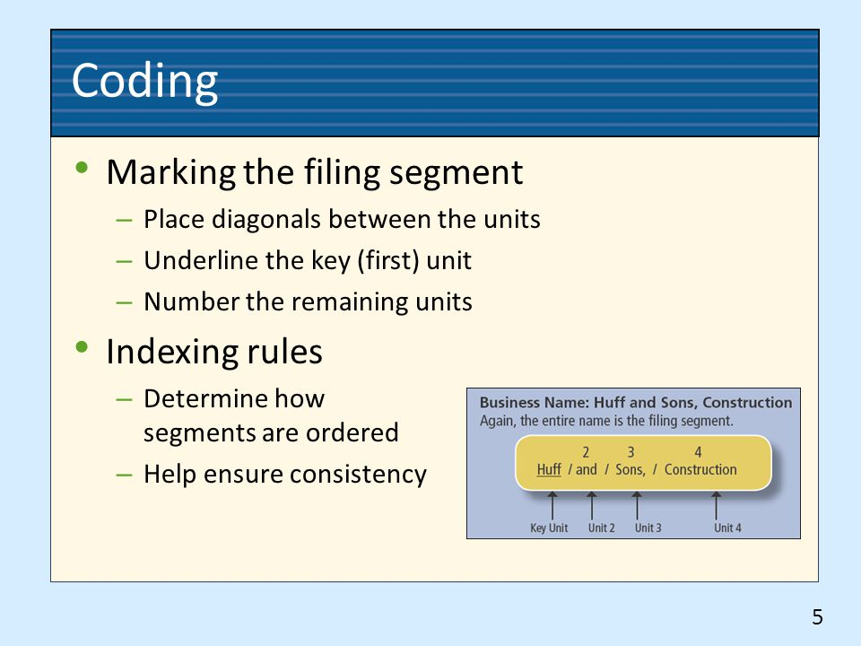 Coding Marking the filing segment – Place diagonals between the units – Underline the key (first) unit – Number the remaining units Indexing rules – Determine how segments are ordered – Help ensure consistency 5