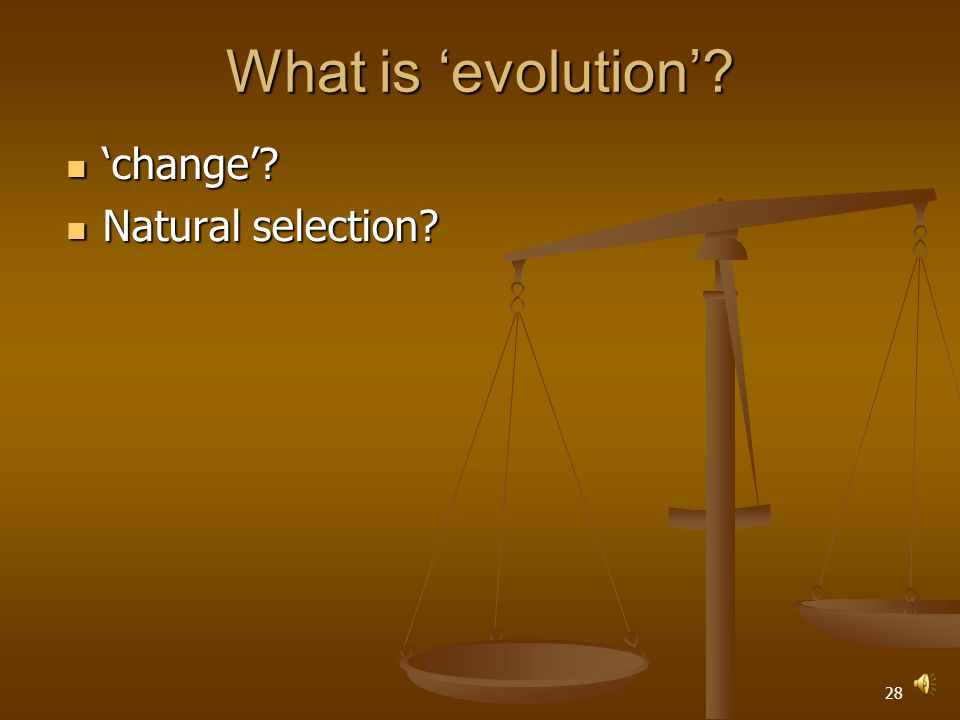 27 What is 'evolution' 'change' 'change'