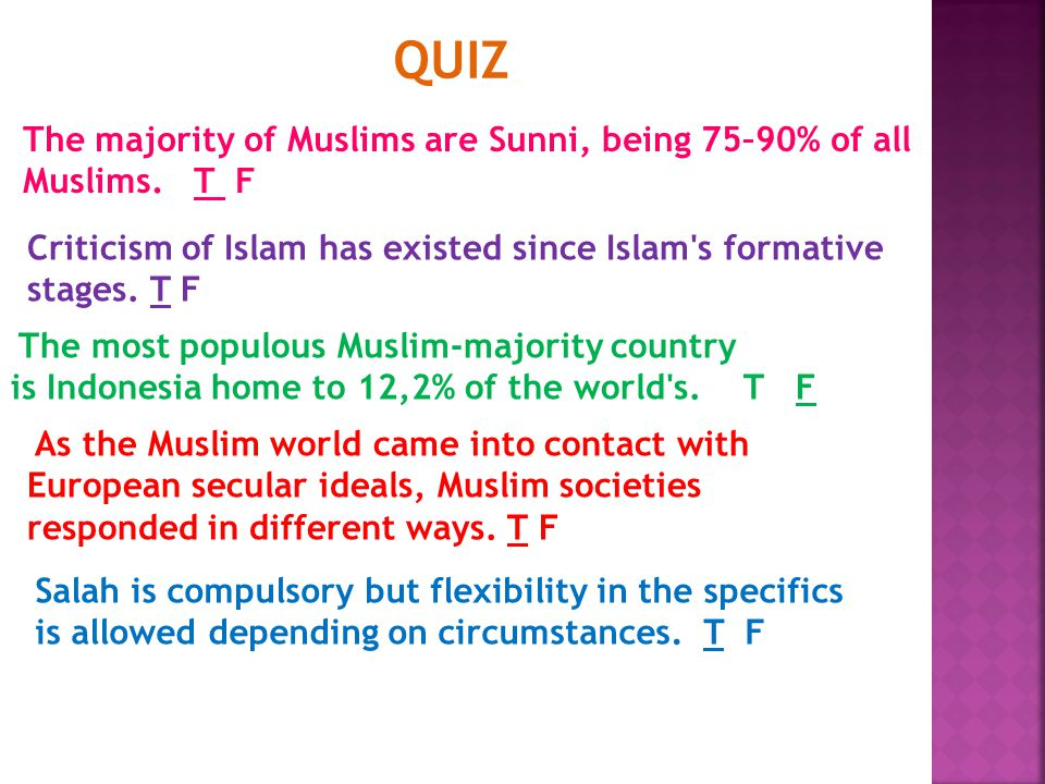 The majority of Muslims are Sunni, being 75–90% of all Muslims.