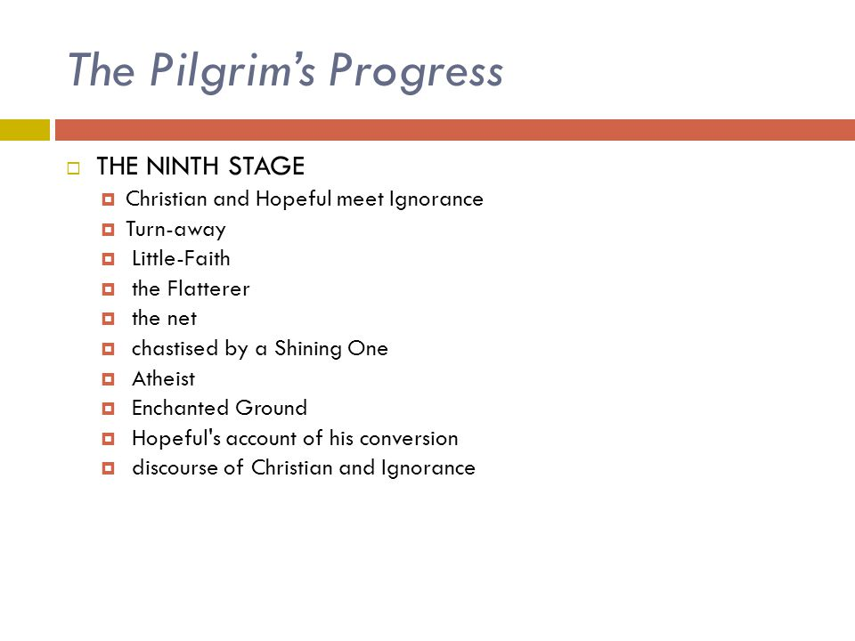 The Pilgrim's Progress  THE NINTH STAGE  Christian and Hopeful meet Ignorance  Turn-away  Little-Faith  the Flatterer  the net  chastised by a
