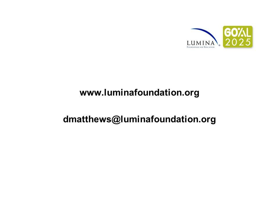 www.luminafoundation.org dmatthews@luminafoundation.org