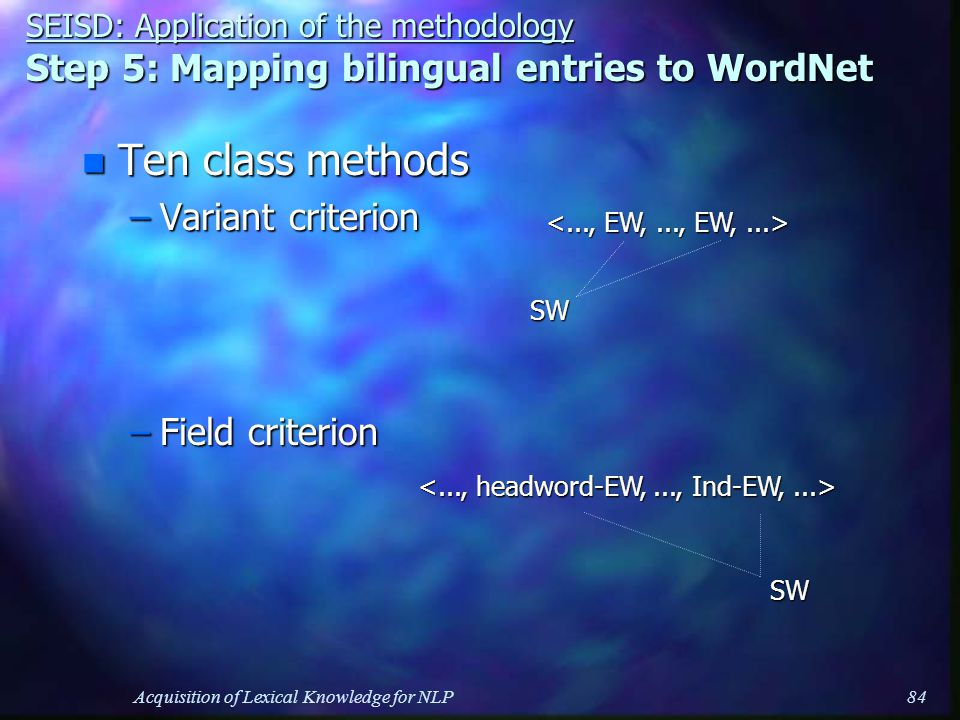 Acquisition of Lexical Knowledge for NLP84 n Ten class methods –Variant criterion –Field criterion SEISD: Application of the methodology Step 5: Mapping bilingual entries to WordNet SW SW