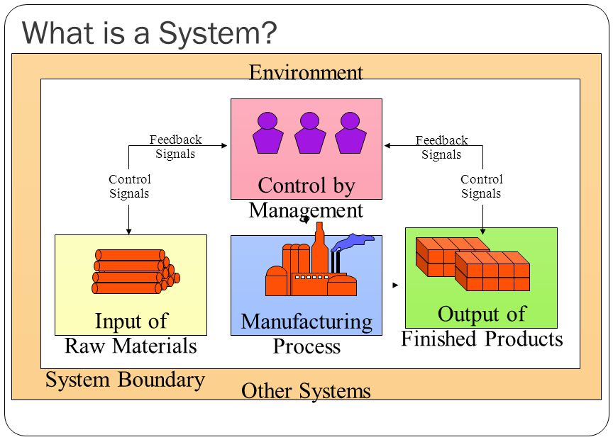 What is a System? Manufacturing Process Input of Raw Materials Output of Finished Products Environment Other Systems Control by Management Control Sig
