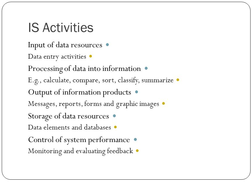 IS Activities Input of data resources Data entry activities Processing of data into information E.g., calculate, compare, sort, classify, summarize Ou
