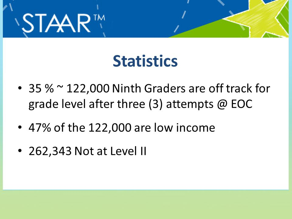 Statistics 35 % ~ 122,000 Ninth Graders are off track for grade level after three (3) attempts @ EOC 47% of the 122,000 are low income 262,343 Not at