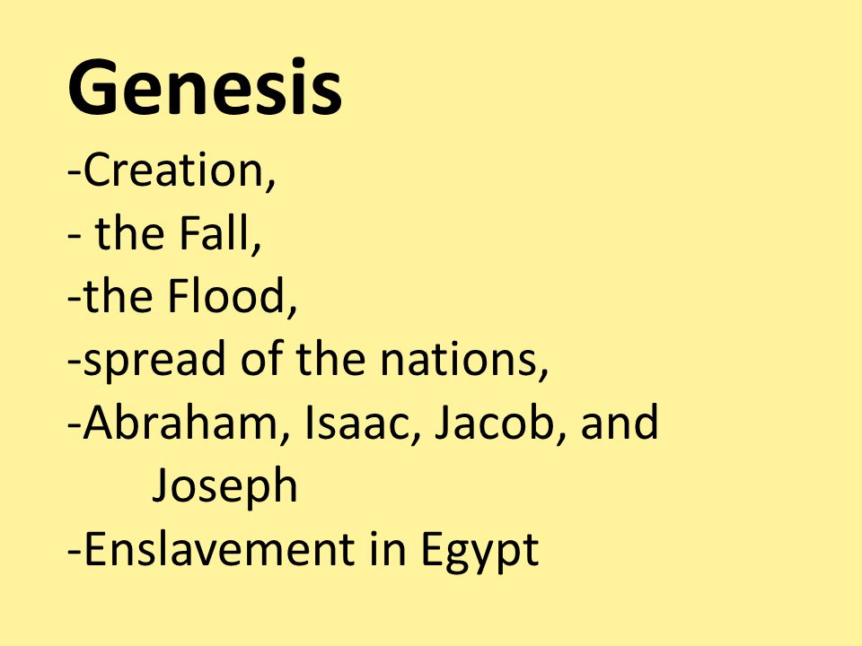 Genesis -Creation, - the Fall, -the Flood, -spread of the nations, -Abraham, Isaac, Jacob, and Joseph -Enslavement in Egypt