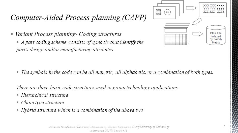 Variant Process planning- Coding structures  Coding systems that have been successfully implemented in process planning:  OPITZ system  The CODE system  The KK-3 system  The MICLASS system  DCLASS system  COFORM (coding for machining) Advanced Manufacturing Laboratory, Department of Industrial Engineering, Sharif University of Technology Automation (21541), Session # 13 8