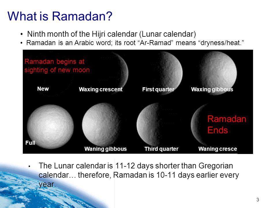 3 What is Ramadan? The Lunar calendar is 11-12 days shorter than Gregorian calendar… therefore, Ramadan is 10-11 days earlier every year. Ninth month