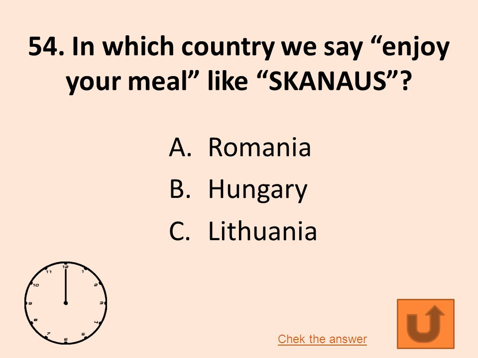 54.In which country we say enjoy your meal like SKANAUS .