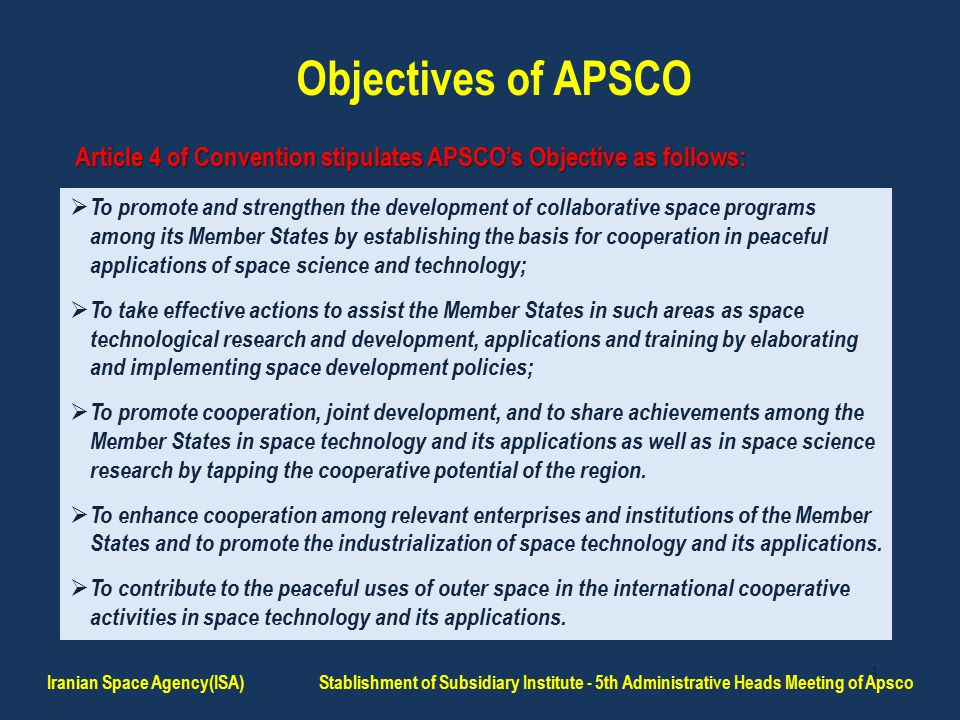 24 Conclusion Iranian Space Agency(ISA) Stablishment of Subsidiary Institute - 5th Administrative Heads Meeting of Apsco Therefore, it is essential to commercialize APSCO's products and services in order to be marketable.