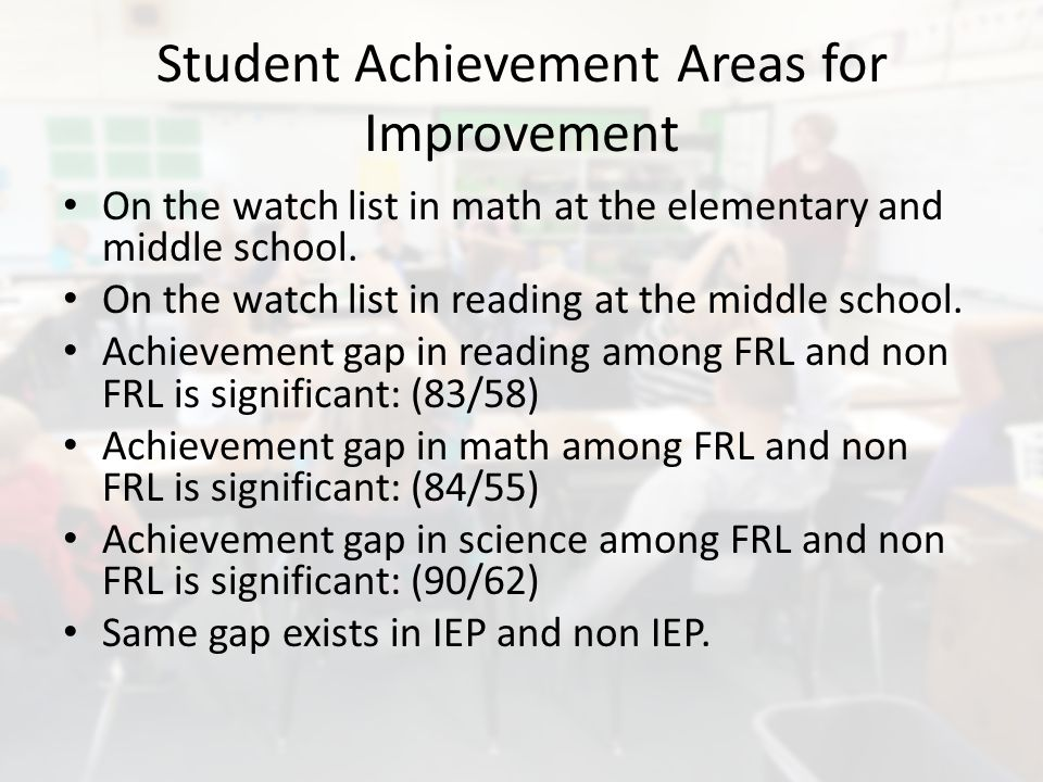 Student Achievement Areas for Improvement On the watch list in math at the elementary and middle school.