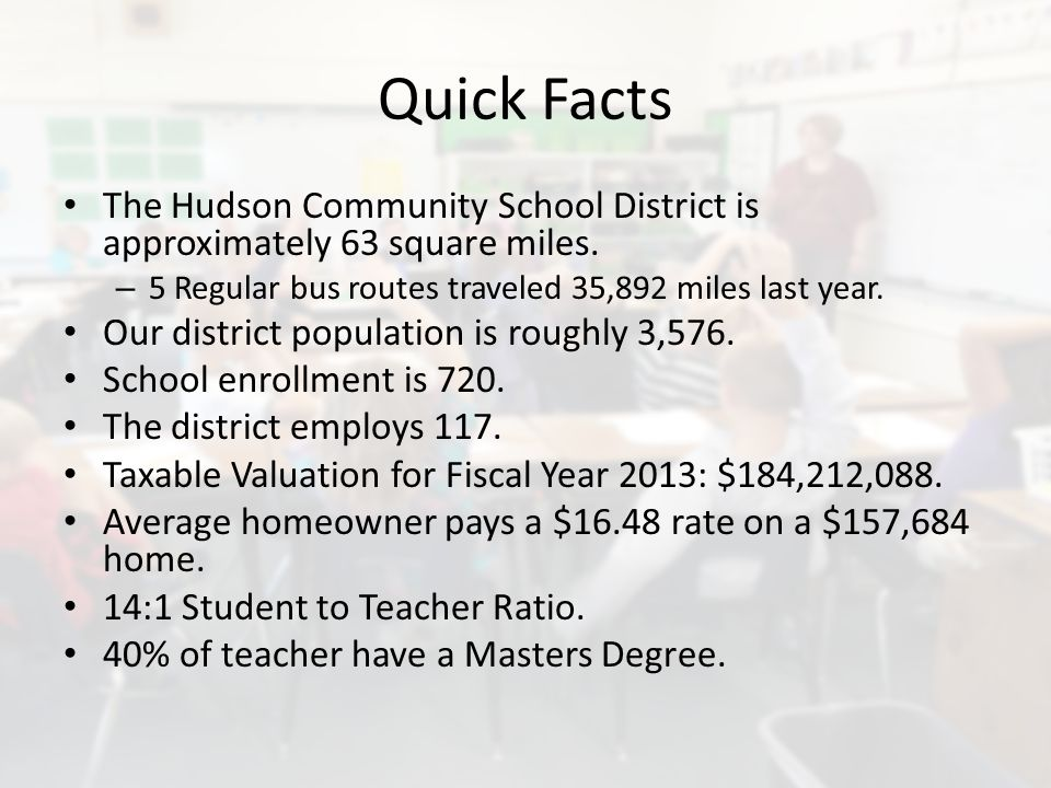 Quick Facts The Hudson Community School District is approximately 63 square miles.