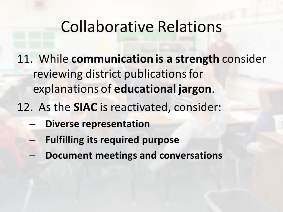 Collaborative Relations 11.