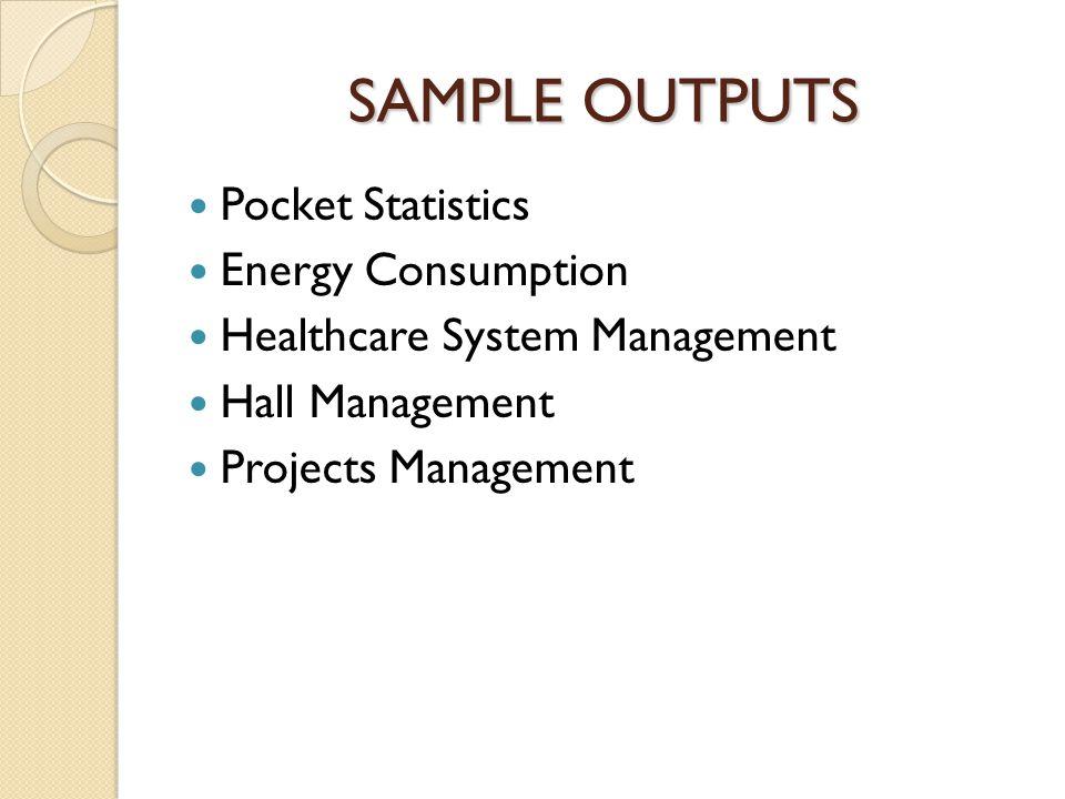 SAMPLE OUTPUTS Pocket Statistics Energy Consumption Healthcare System Management Hall Management Projects Management