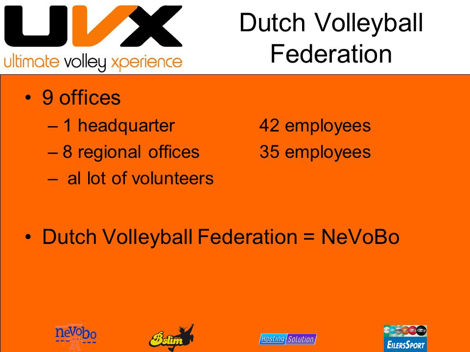 Dutch Volleyball Federation 9 offices –1 headquarter42 employees –8 regional offices35 employees – al lot of volunteers Dutch Volleyball Federation = NeVoBo