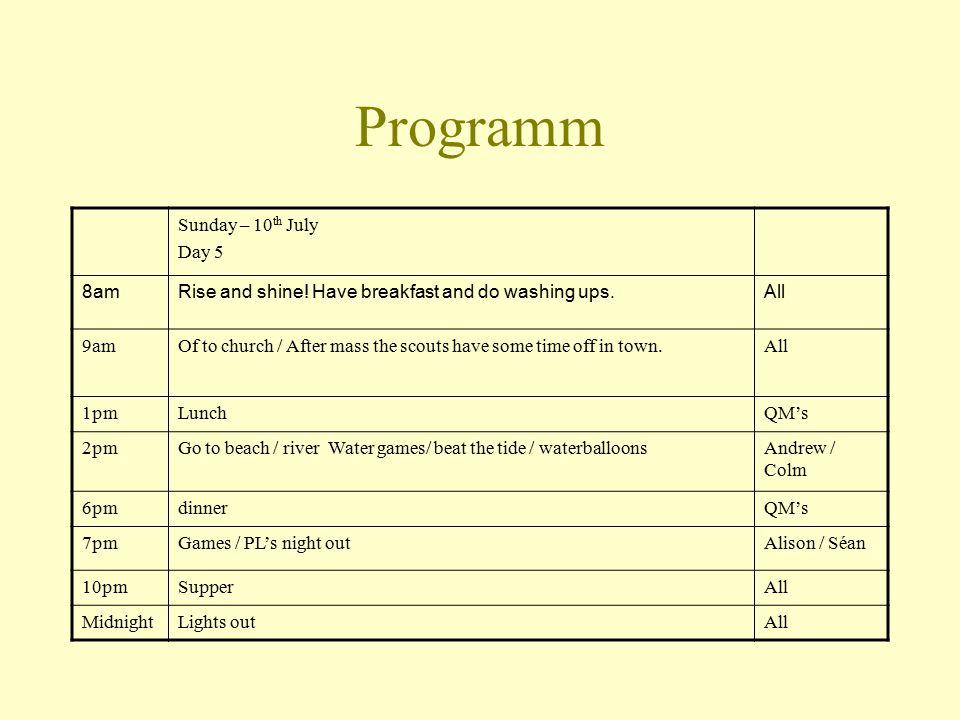 Programm Sunday – 10 th July Day 5 8amRise and shine.