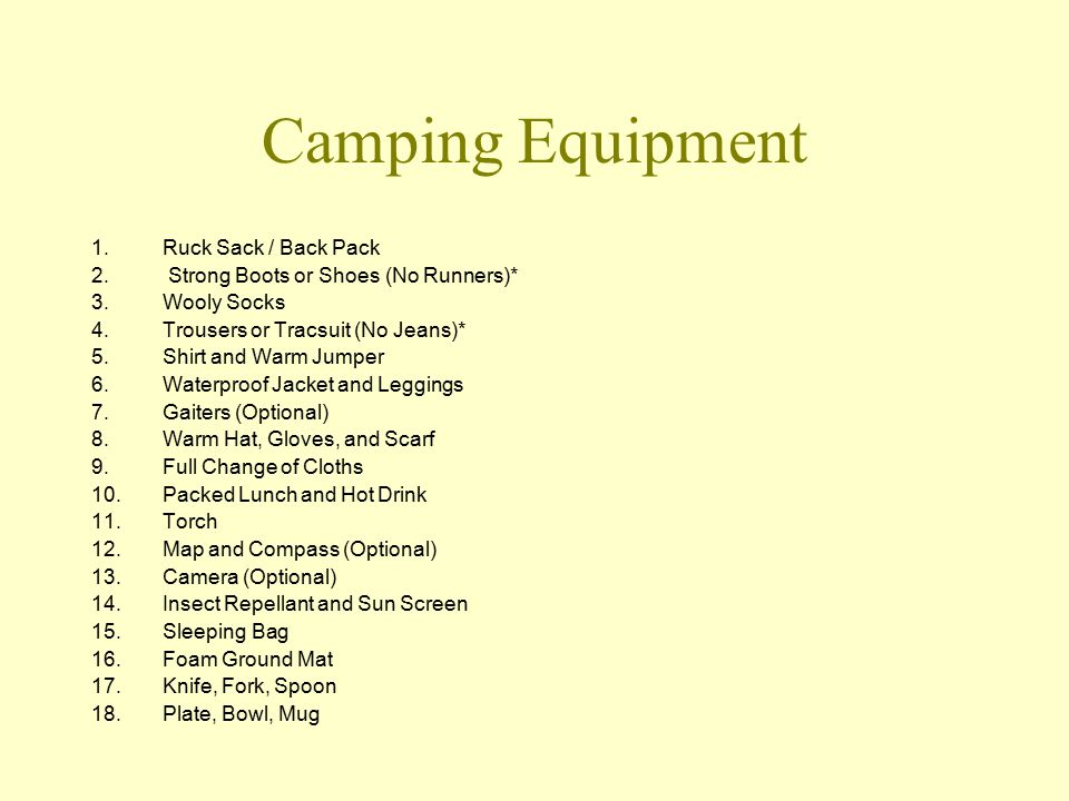 Camping Equipment 1.Ruck Sack / Back Pack 2. Strong Boots or Shoes (No Runners)* 3.Wooly Socks 4.Trousers or Tracsuit (No Jeans)* 5.Shirt and Warm Jum