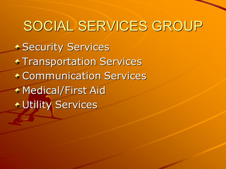 SOCIAL SERVICES GROUP Security Services Transportation Services Communication Services Medical/First Aid Utility Services
