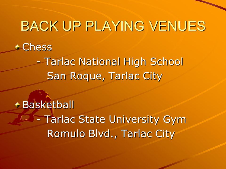 Chess - Tarlac National High School San Roque, Tarlac City San Roque, Tarlac CityBasketball - Tarlac State University Gym Romulo Blvd., Tarlac City Romulo Blvd., Tarlac City BACK UP PLAYING VENUES