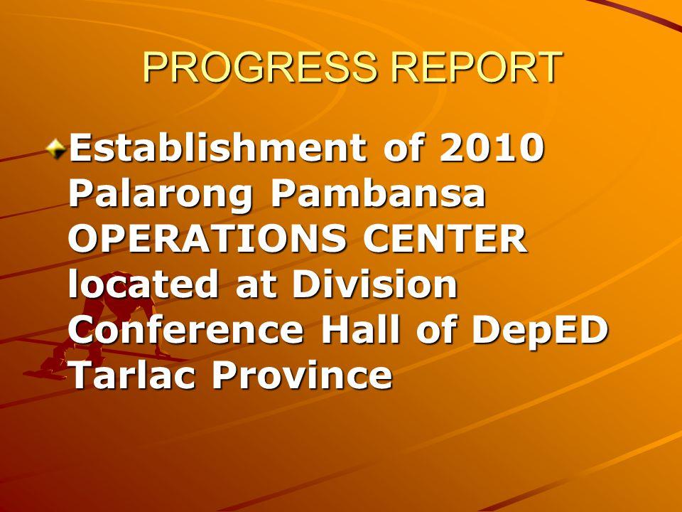 Establishment of 2010 Palarong Pambansa OPERATIONS CENTER located at Division Conference Hall of DepED Tarlac Province PROGRESS REPORT