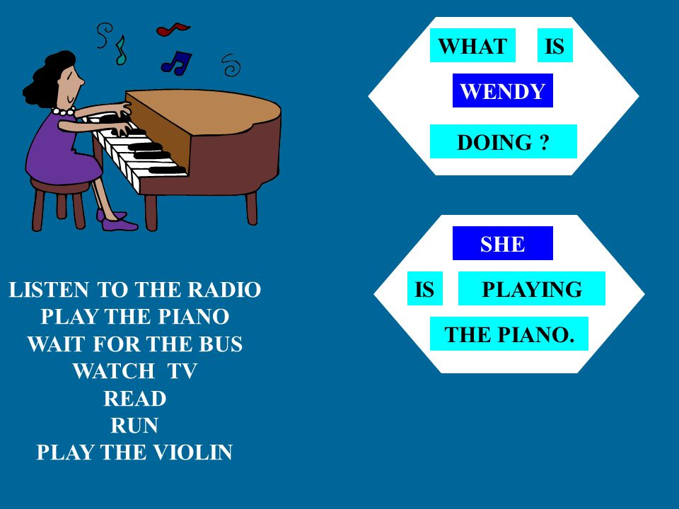 PLAY THE PIANO WAIT FOR THE BUS WATCH TV READ PLAY THE VIOLIN PLAY FOOTBALL REPAIR THE CAR MR.