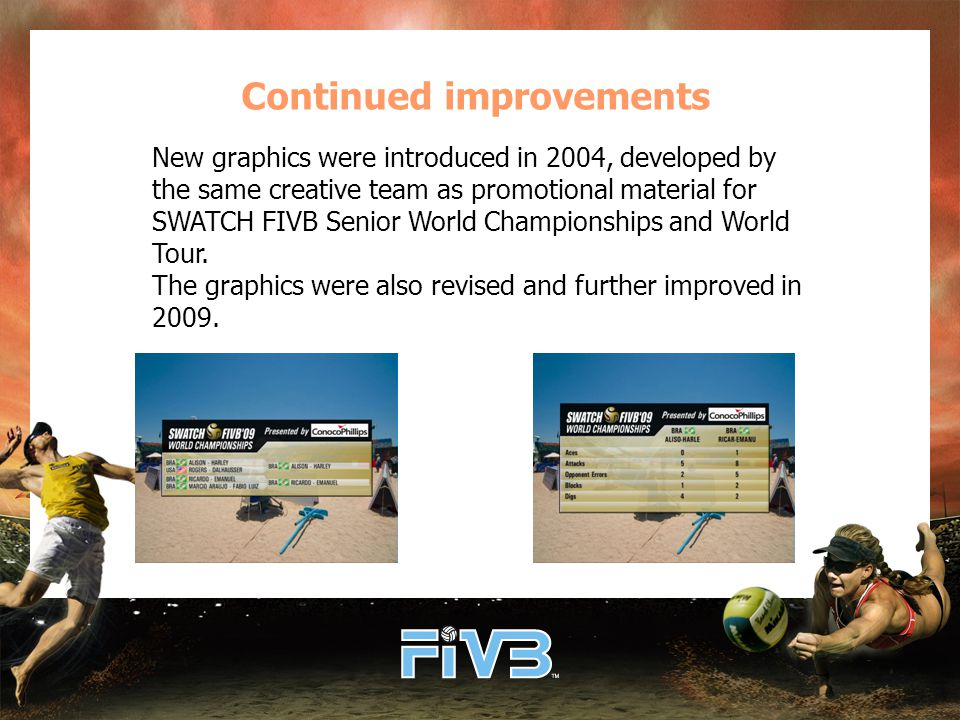 Continued improvements New graphics were introduced in 2004, developed by the same creative team as promotional material for SWATCH FIVB Senior World Championships and World Tour.