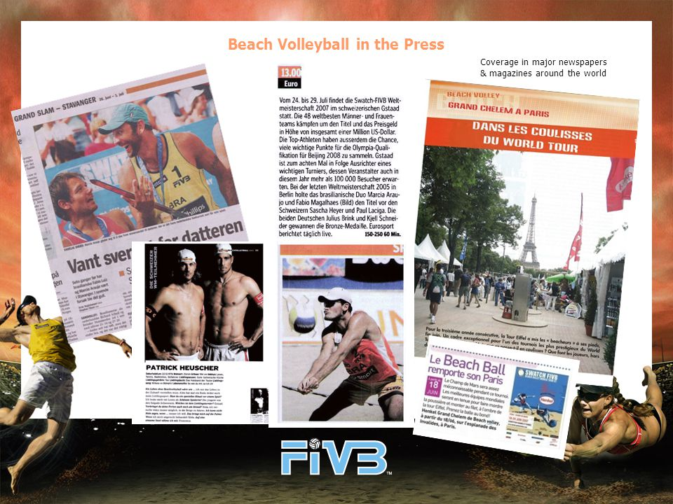 Beach Volleyball in the Press Coverage in major newspapers & magazines around the world