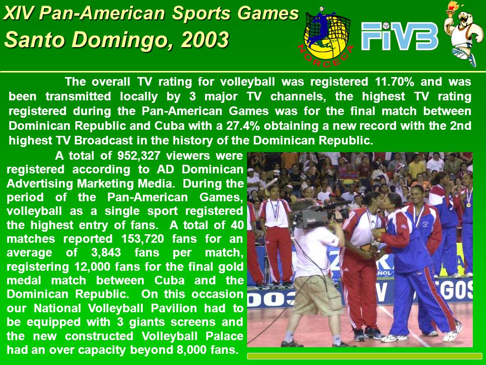 XIV Pan-American Sports Games Santo Domingo, 2003 Women 1.- Dominican Republic (Gold Medal) 2.- Cuba (Silver Medal) 3.- USA (Bronze Medal) 4.- Brazil 5.- Venezuela 6.- Puerto Rico 7.- Peru 8.- Mexico FOR VOLLEYBALL THE FINAL RESULTS WERE: