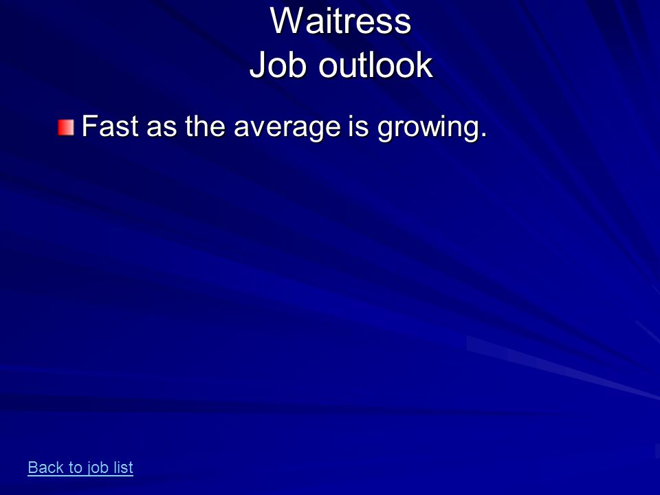 Waitress Job outlook Fast as the average is growing. Back to job list