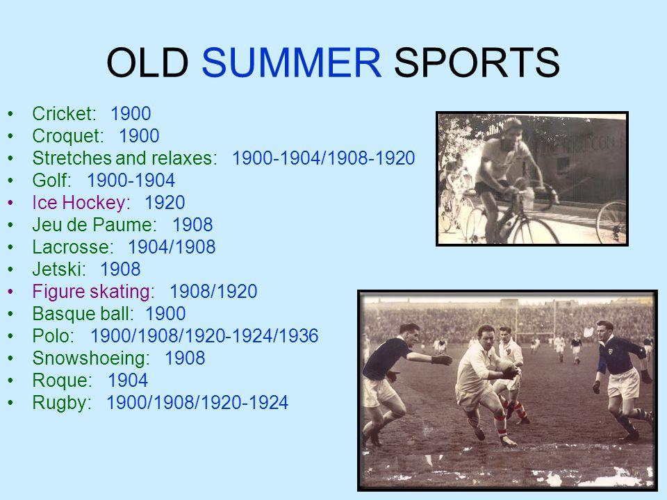 NEW SUMMER SPORTS Athletics: 1896-2012 Badminton: 1992-2012 Basketball: 1936-2012 Baseball: 1992-2008 Boxing: 1904/1908/1920-2012 Cycling – BMX: 2008-2012 Mountain Biking: 1996-2012 Track Cycling: 1896-1908/1912- 2012 Cycling route: 1896/1912-2012 Fencing: 1896-2012 Football: 1900-104/1908- 1928/1936-2012 Artistic Gymnastics: 1896-2012 Gymnastics: 1984-2012 Gymnastics – Trampoline: 2000-2012 Weightlifting: 1896/1904- 1906/1920-2012 Handball: 1936/1972-2012 Riding: 1900/1912-2012 Hockey: 1908/1920-2012 Judo: 1964/1972-2012