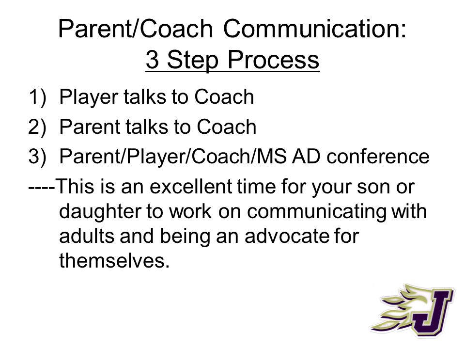 Parent/Coach Communication: 3 Step Process 1)Player talks to Coach 2)Parent talks to Coach 3)Parent/Player/Coach/MS AD conference ----This is an excel