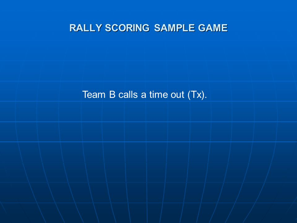 RALLY SCORING SAMPLE GAME Team B calls a time out (Tx).