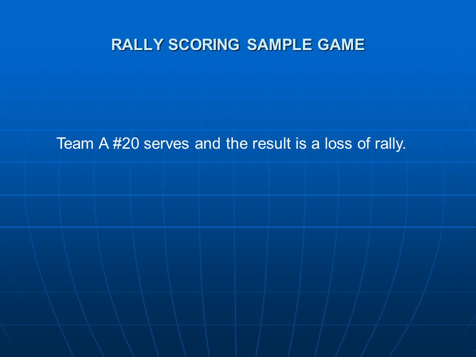RALLY SCORING SAMPLE GAME Team A #20 serves and the result is a loss of rally.