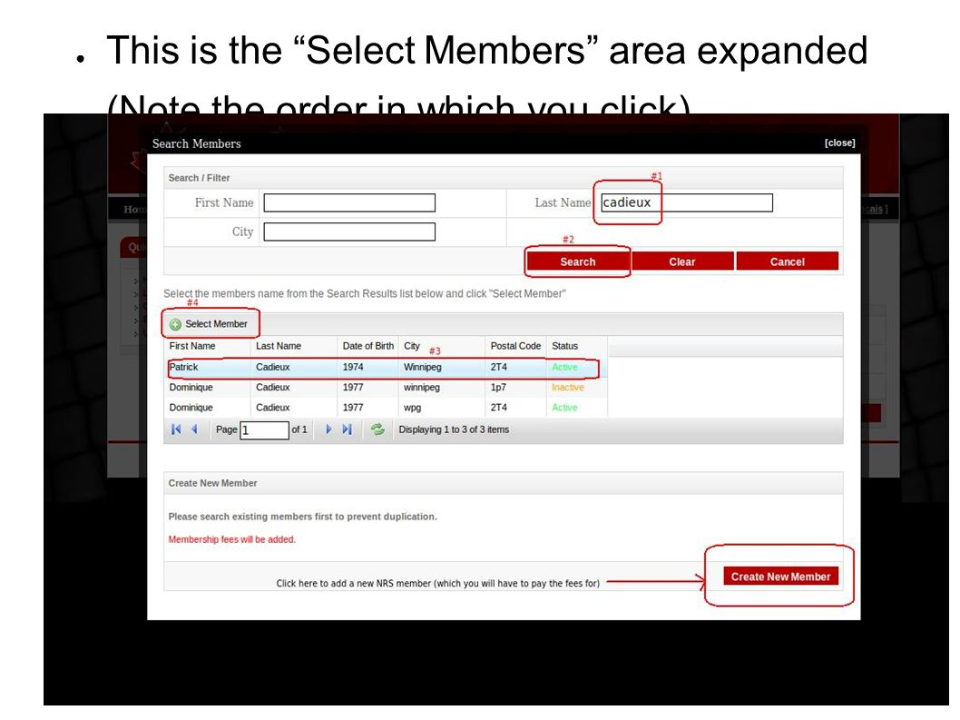 "● This is the ""Select Members"" area expanded ● (Note the order in which you click)"