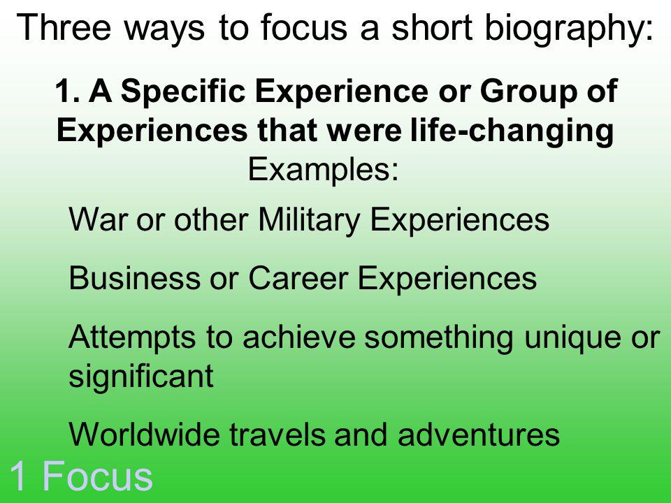 Examples: 1 Focus 1.