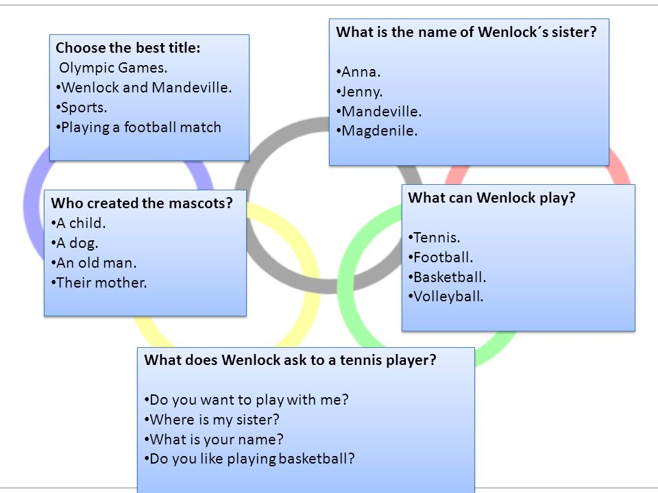 Choose the best title: Olympic Games. Wenlock and Mandeville.