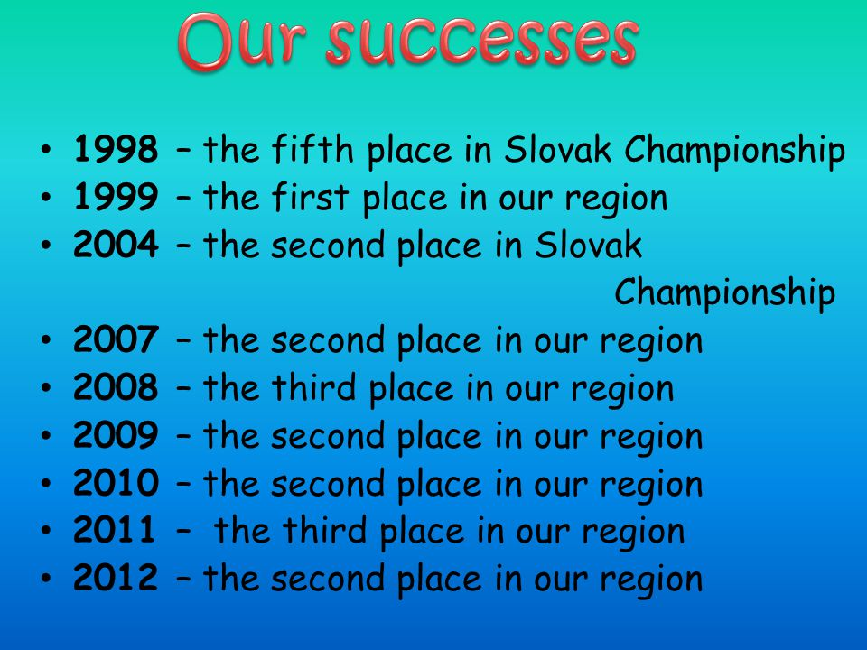 1998 – the fifth place in Slovak Championship 1999 – the first place in our region 2004 – the second place in Slovak Championship 2007 – the second pl