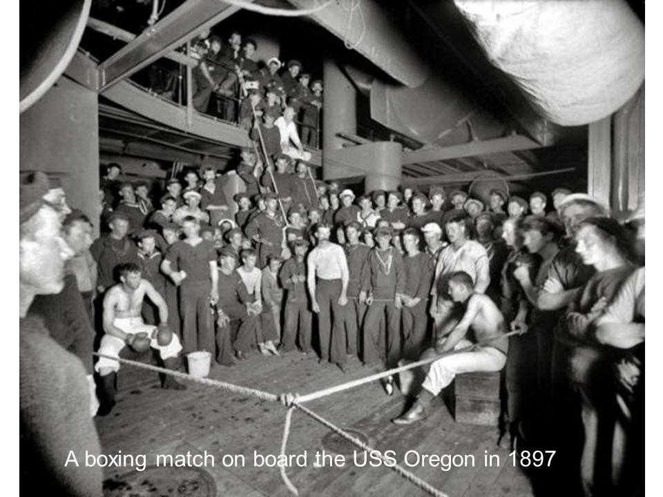A boxing match on board the USS Oregon in 1897