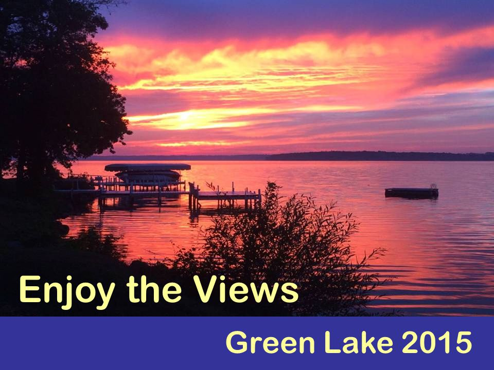 Welcome! Sit back and enjoy the views of Green Lake...