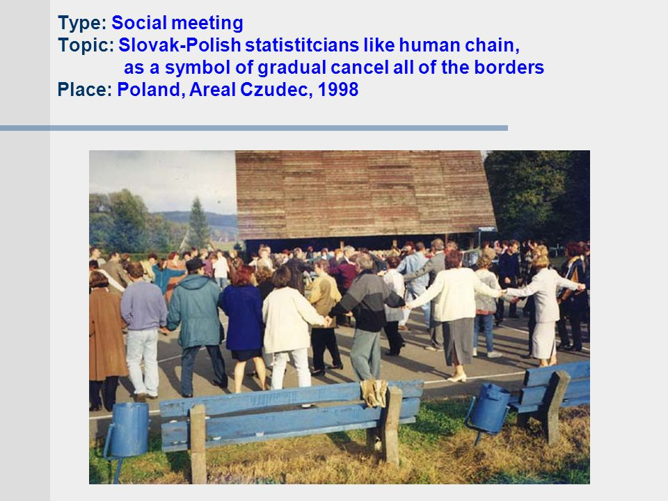 Type: Social meeting Topic: Slovak-Polish statistitcians like human chain, as a symbol of gradual cancel all of the borders Place: Poland, Areal Czudec, 1998