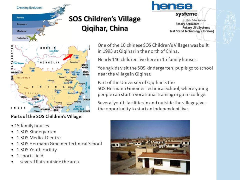 One of the 10 chinese SOS Children's Villages was built in 1993 at Qiqihar in the north of China.