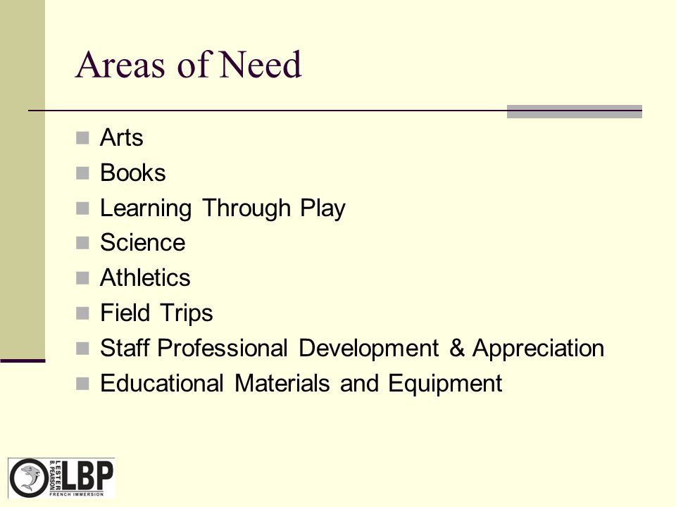 Areas of Need Arts Books Learning Through Play Science Athletics Field Trips Staff Professional Development & Appreciation Educational Materials and E
