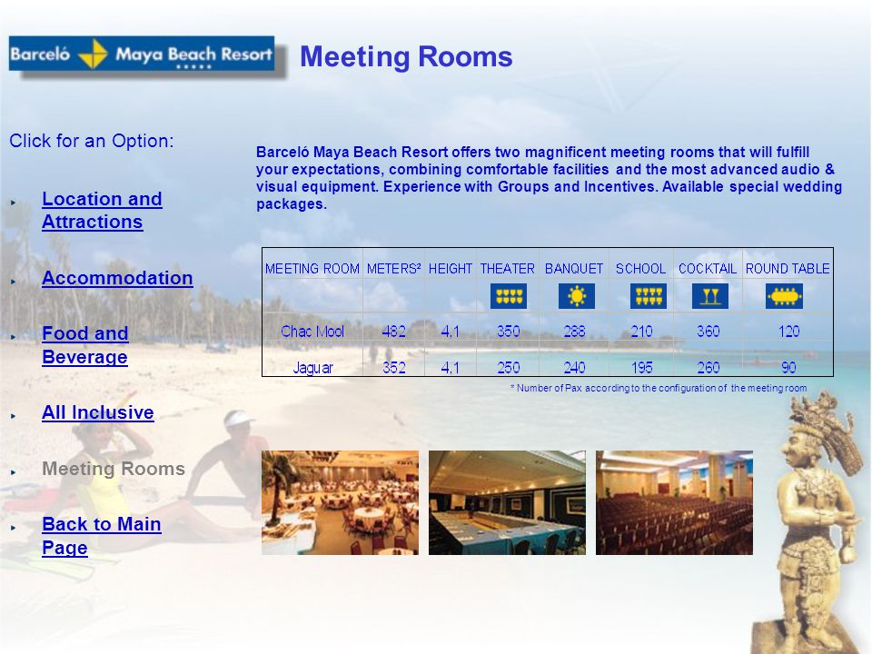 Location and Attractions Accommodation Food and Beverage All Inclusive Meeting Rooms Back to Main Page Click for an Option: Meeting Rooms Barceló Maya