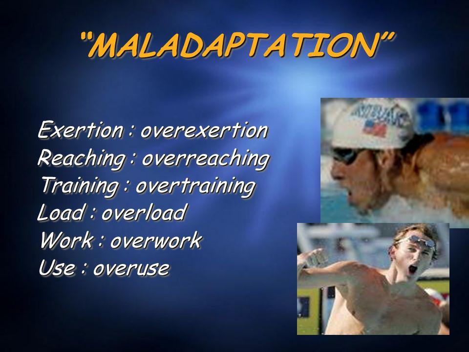 MALADAPTATION MALADAPTATION Exertion : overexertion Reaching : overreaching Training : overtraining Load : overload Work : overwork Use : overuse Exertion : overexertion Reaching : overreaching Training : overtraining Load : overload Work : overwork Use : overuse