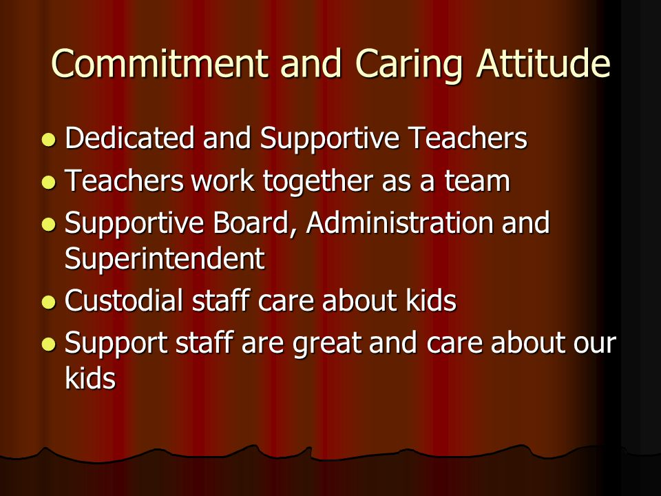 Commitment and Caring Attitude Dedicated and Supportive Teachers Dedicated and Supportive Teachers Teachers work together as a team Teachers work toge