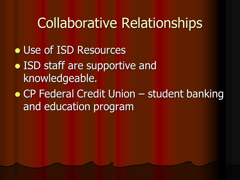 Collaborative Relationships Use of ISD Resources Use of ISD Resources ISD staff are supportive and knowledgeable. ISD staff are supportive and knowled