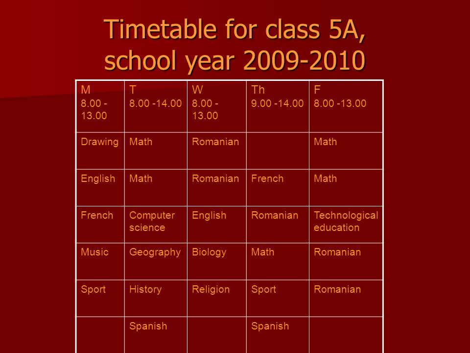 Timetable for class 5A, school year 2009-2010 M 8.00 - 13.00 T 8.00 -14.00 W 8.00 - 13.00 Th 9.00 -14.00 F 8.00 -13.00 DrawingMathRomanianMath EnglishMathRomanianFrenchMath FrenchComputer science EnglishRomanianTechnological education MusicGeographyBiologyMathRomanian SportHistoryReligionSportRomanian Spanish