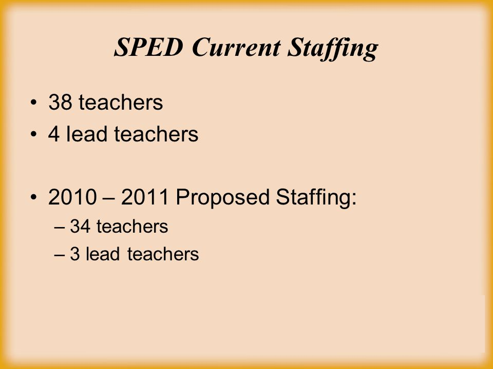 SPED Current Staffing 38 teachers 4 lead teachers 2010 – 2011 Proposed Staffing: –34 teachers –3 lead teachers
