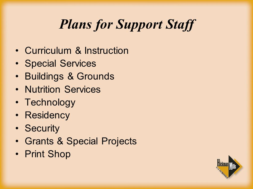 Plans for Support Staff Curriculum & Instruction Special Services Buildings & Grounds Nutrition Services Technology Residency Security Grants & Special Projects Print Shop